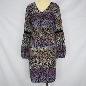 MSK | Multicolored Floral Lace-in-Sleeve Dress M